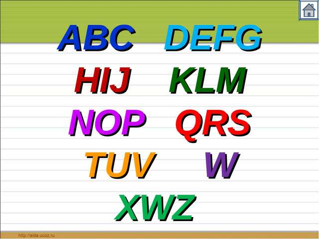 ABC DEFG HIJ KLM NOP QRS TUV W XWZ