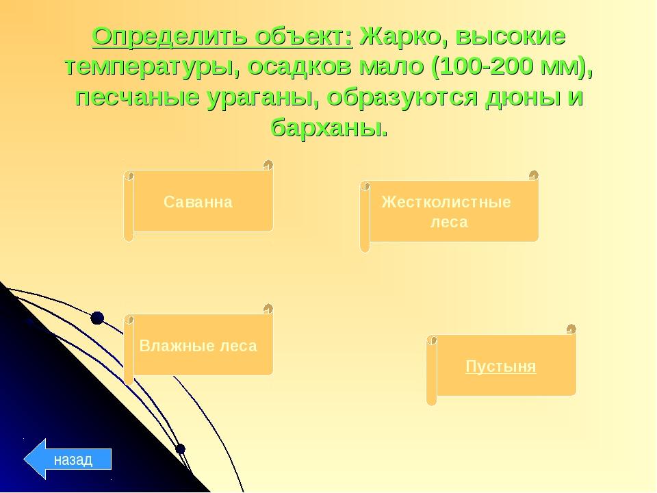 Определить объект: Жарко, высокие температуры, осадков мало (100-200 мм), пес...