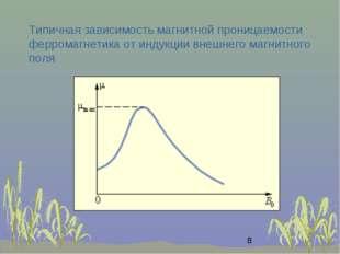 Типичная зависимость магнитной проницаемости ферромагнетика от индукции внешн