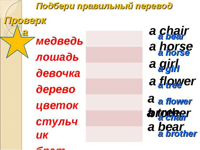 Подбери правильный перевод a horse a bear a girl a chair a tree a flower a br...