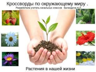 Растения в нашей жизни Кроссворды по окружающему миру . Разработала учитель н
