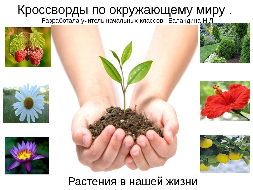 Растения в нашей жизни Кроссворды по окружающему миру . Разработала учитель н...