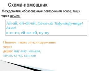 Схема-помощник Междометия, образованные повторением основ, пиши через дефис А