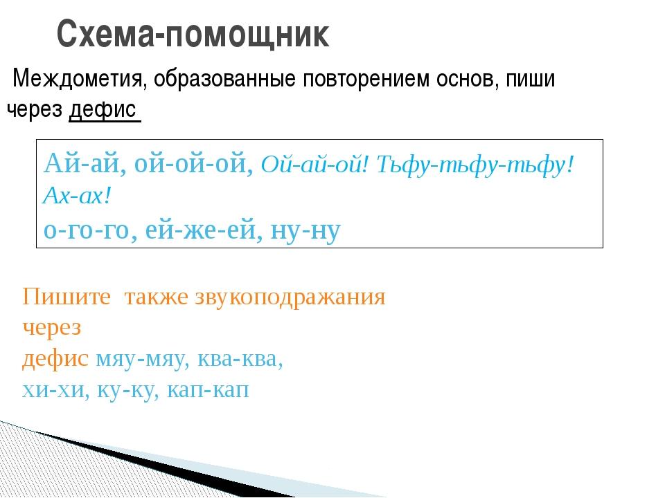 Схема-помощник Междометия, образованные повторением основ, пиши через дефис А...