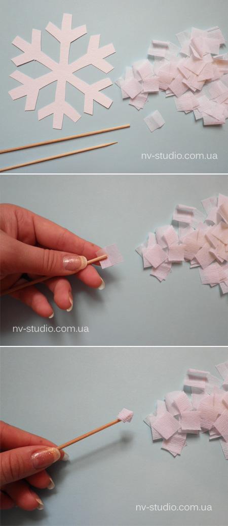 Снежинки из крепированной бумаги