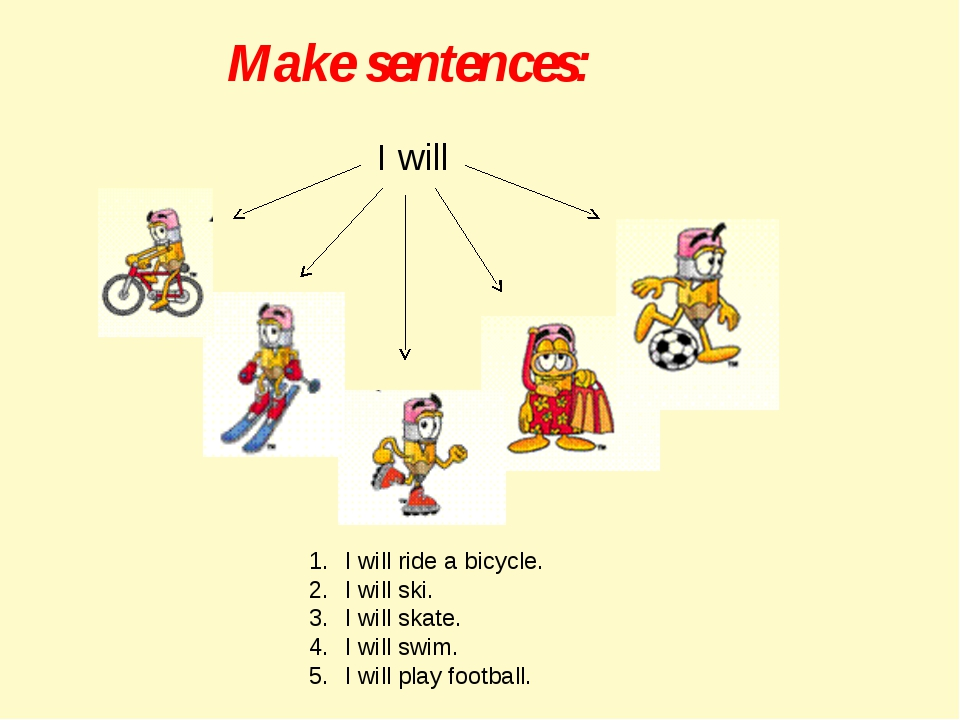 Make sentences: I will I will ride a bicycle. I will ski. I will skate. I wil...