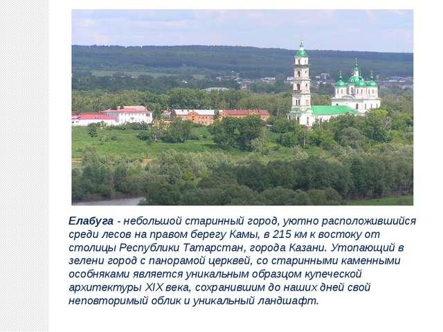 Елабуга - небольшой старинный город, уютно расположившийся среди лесов на пра...