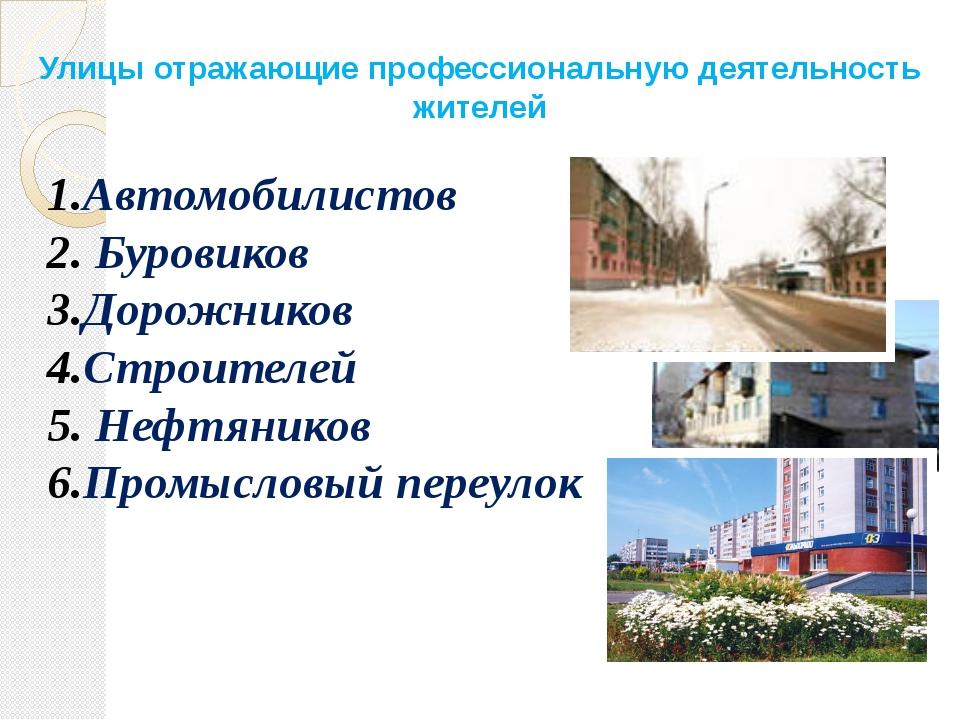 Улицы отражающие профессиональную деятельность жителей Автомобилистов Буровик...