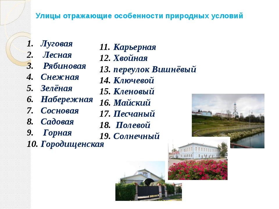 Улицы отражающие особенности природных условий Луговая Лесная Рябиновая Снежн...
