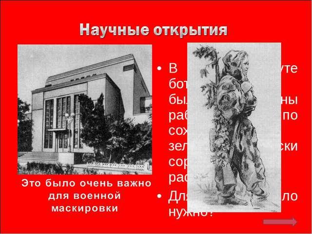 В Институте ботаники МГУ были проведены работы по сохранению зеленой окраски...