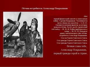 Лётчик-истребитель Александр Покрышкин сбил первый фашистский самолёт в самом