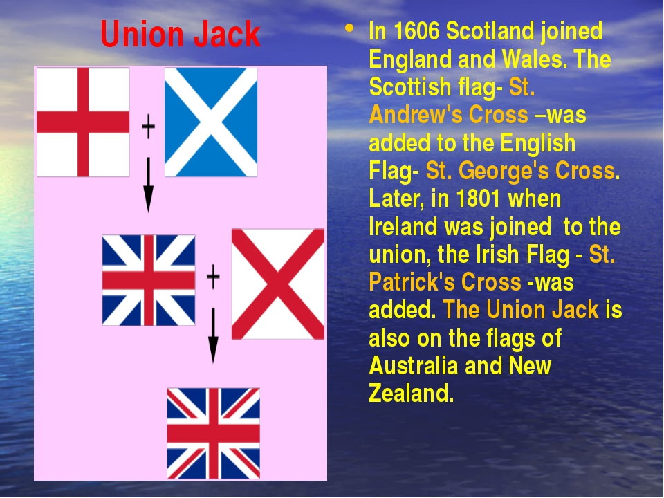 Union Jack In 1606 Scotland joined England and Wales. The Scottish flag- St....