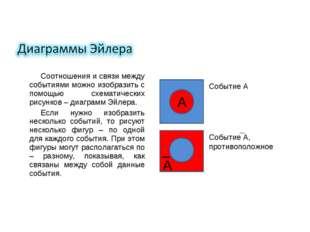 Соотношения и связи между событиями можно изобразить с помощью схематических