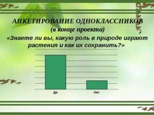 АНКЕТИРОВАНИЕ ОДНОКЛАССНИКОВ (в конце проекта) «Знаете ли вы, какую роль в пр