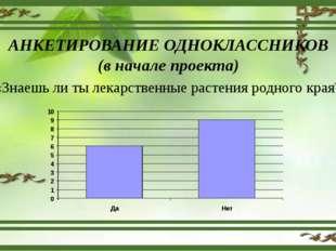 АНКЕТИРОВАНИЕ ОДНОКЛАССНИКОВ (в начале проекта) «Знаешь ли ты лекарственные р