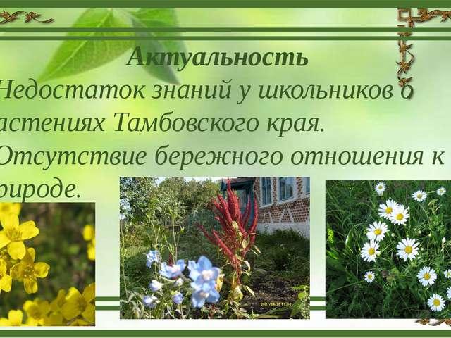 Актуальность Недостаток знаний у школьников о растениях Тамбовского края. Отс...