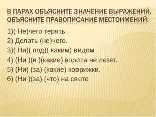 1)( Не)чего терять . 2) Делать (не)чего. 3)( Ни)( под)( каким) видом . 4) (Ни