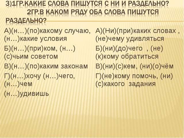 А)(н…)(по)какому случаю, (н…)какие условия Б)(н…)(при)ком, (н…)(с)чьим совето...