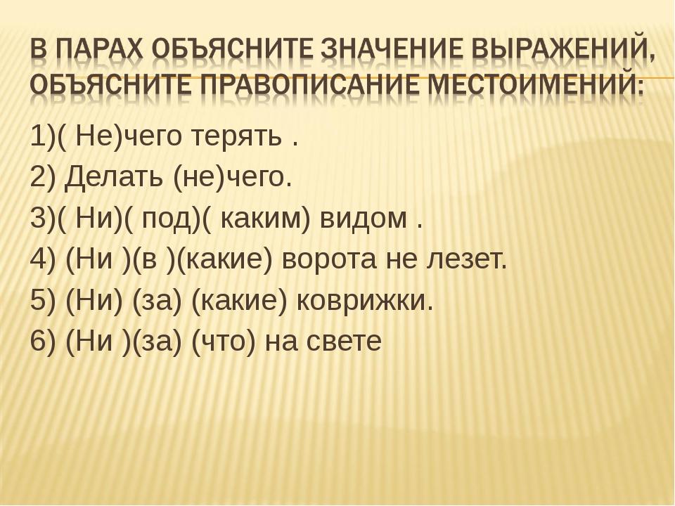 1)( Не)чего терять . 2) Делать (не)чего. 3)( Ни)( под)( каким) видом . 4) (Ни...