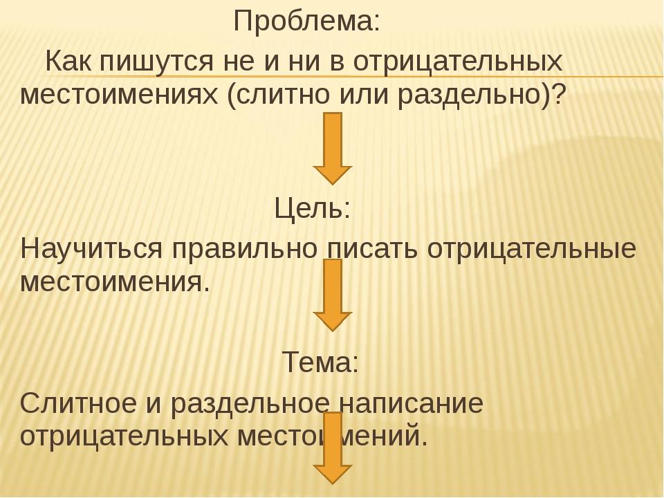Проблема: Как пишутся не и ни в отрицательных местоимениях (слитно или разде...