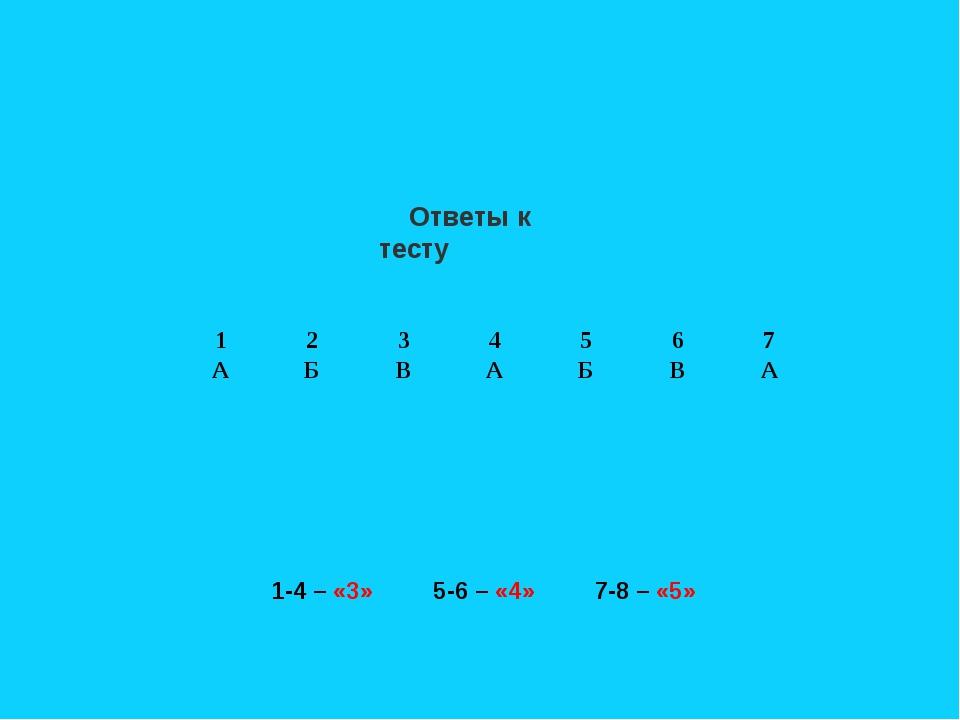 Ответы к тесту 1-4 – «3» 5-6 – «4» 7-8 – «5» 1234567 АБВАБВА