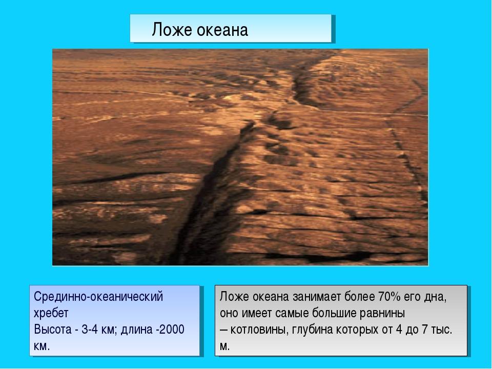 Срединно-океанический хребет Высота - 3-4 км; длина -2000 км. Ложе океана зан...
