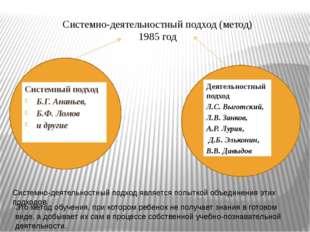 Системно-деятельностный подход (метод) 1985 год Системный подход Б.Г. Ананье