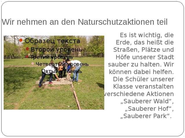 Wir nehmen an den Naturschutzaktionen teil Es ist wichtig, die Erde, das hei...