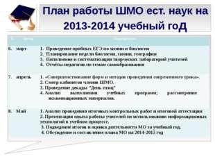 План работы ШМО ест. наук на 2013-2014 учебный год № Месяц Мероприятие 6. мар