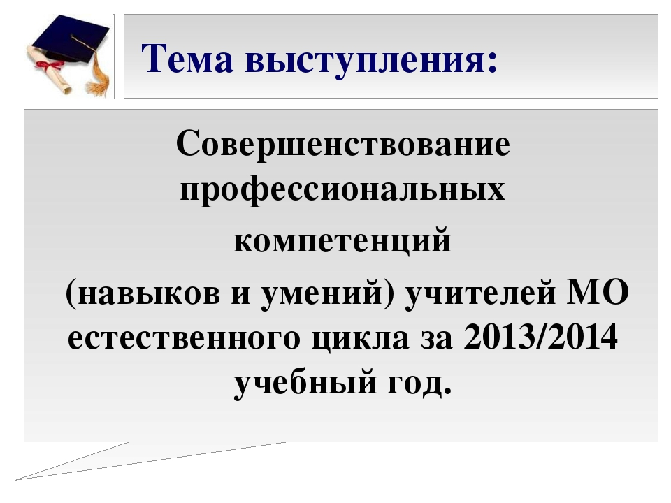 Тема выступления: Совершенствование профессиональных компетенций (навыков и...