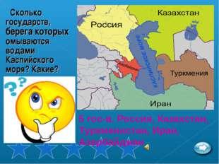 Сколько государств, берега которых омываются водами Каспийского моря? Какие?