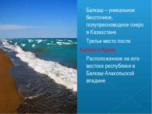 Балкаш – уникальное бессточное, полупресноводное озеро в Казахстане. Третье м