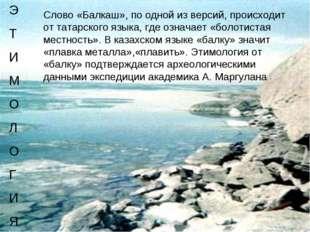Слово«Балкаш», по одной из версий, происходит от татарского языка, где означ
