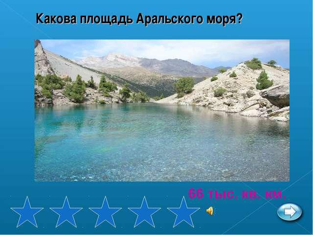 Какова площадь Аральского моря? 66 тыс. кв. км.