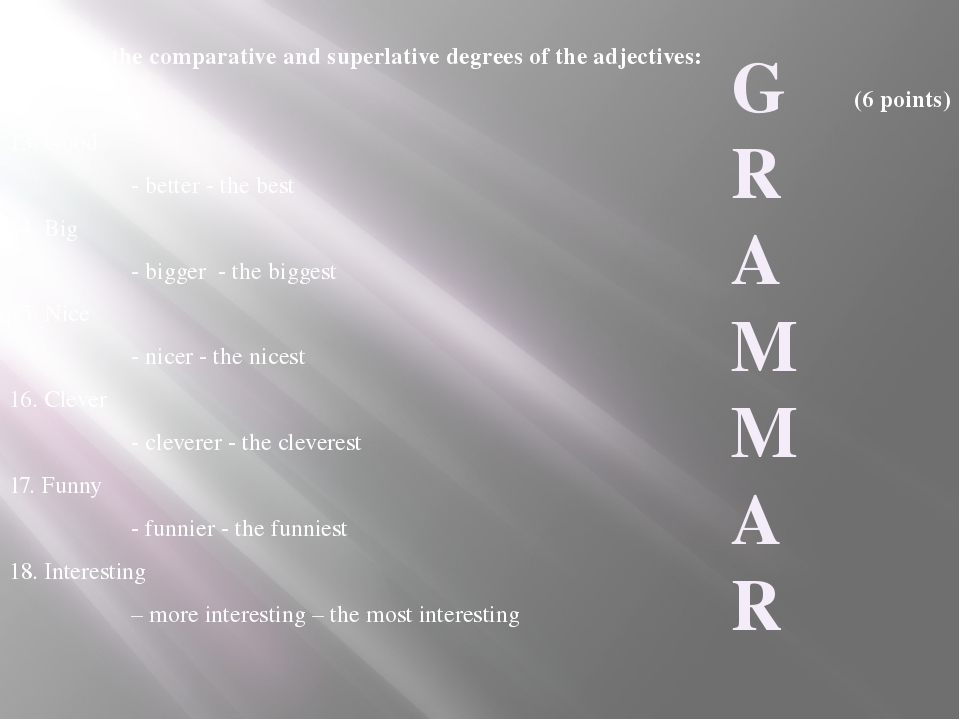 IV. Write the comparative and superlative degrees of the adjectives: (6 point...
