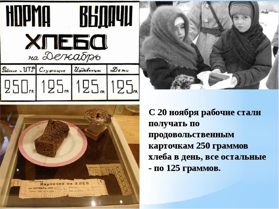 С 20 ноября рабочие стали получать по продовольственным карточкам 250 граммов...