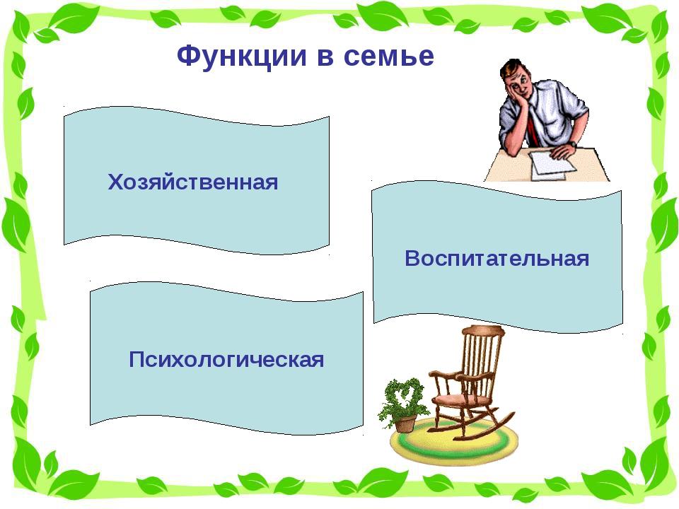 Функции в семье Хозяйственная Воспитательная Психологическая