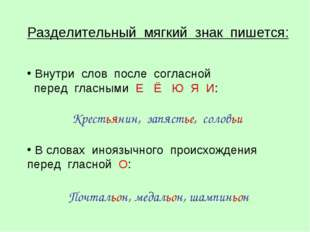 Разделительный мягкий знак пишется: Внутри слов после согласной перед гласным