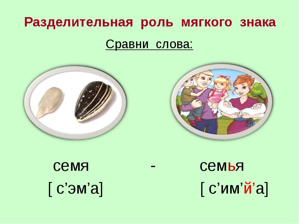 Сравни слова: семя - семья [ с'эм'а] [ с'им'й'а] Разделительная роль мягкого...