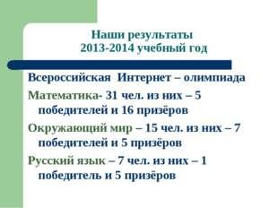 Наши результаты 2013-2014 учебный год Всероссийская Интернет – олимпиада Мате
