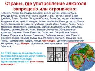 Страны, где употребление алкоголя запрещено или ограничено: Албания, Алжир,