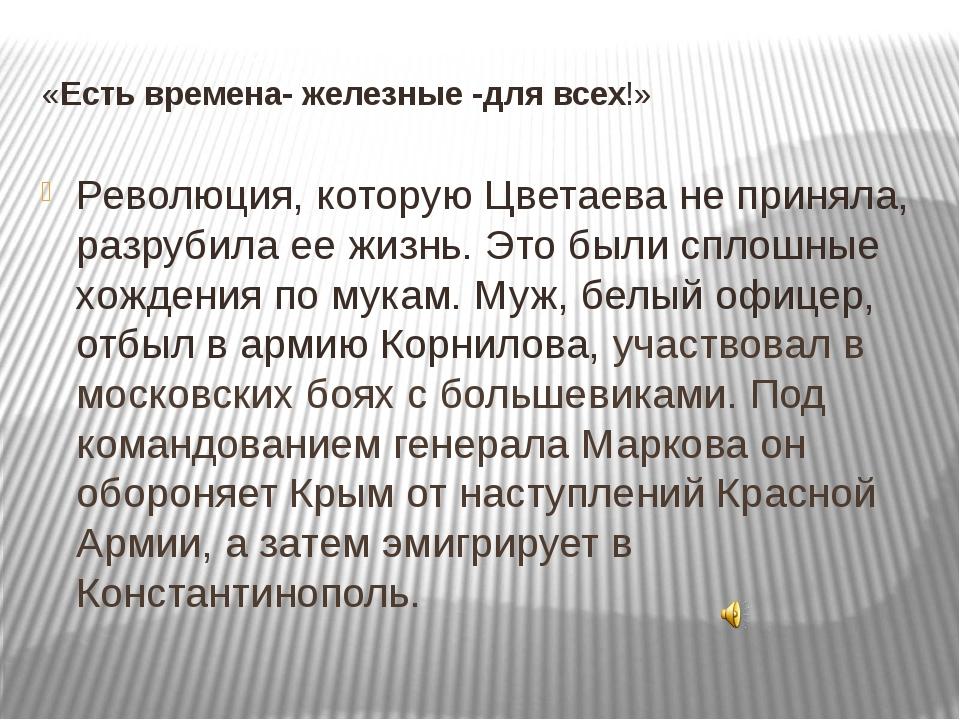 «Есть времена- железные -для всех!» Революция, которую Цветаева не приняла, р...