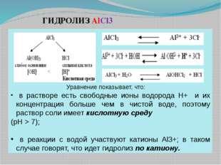 Уравнение показывает, что: в растворе есть свободные ионы водорода Н+ и их