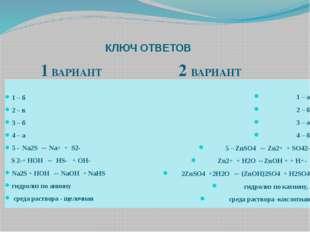 КЛЮЧ ОТВЕТОВ 1 ВАРИАНТ 2 ВАРИАНТ 1 – б 2 – в 3 – б 4 – а 5 - Na2S ↔ Na+ + S2-