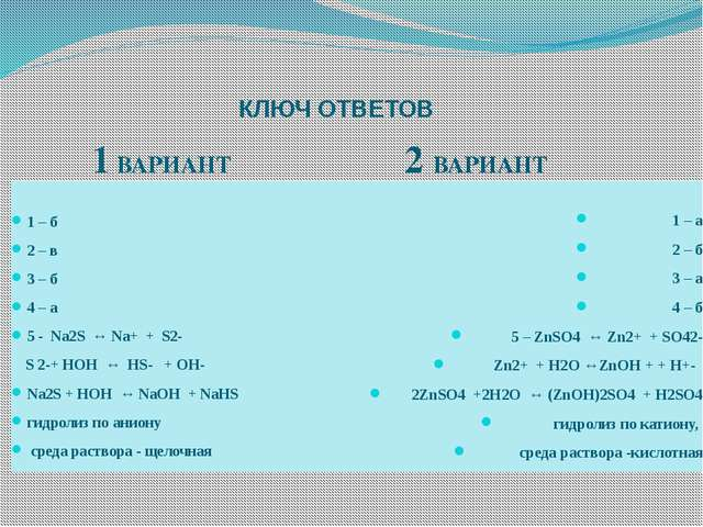 КЛЮЧ ОТВЕТОВ 1 ВАРИАНТ 2 ВАРИАНТ 1 – б 2 – в 3 – б 4 – а 5 - Na2S ↔ Na+ + S2-...