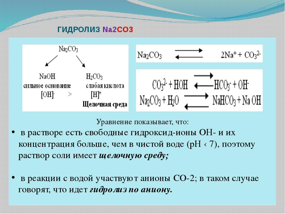 ГИДРОЛИЗ Na2CO3 Уравнение показывает, что: в растворе есть свободные гидрокс...