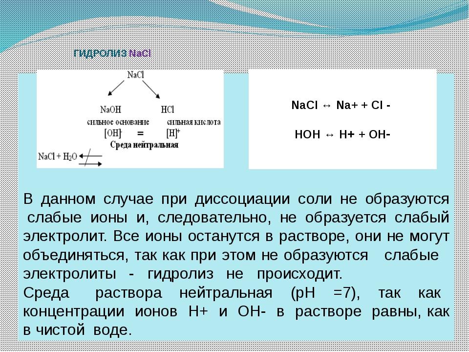 ГИДРОЛИЗ NaCl В данном случае при диссоциации соли не образуются слабые ион...
