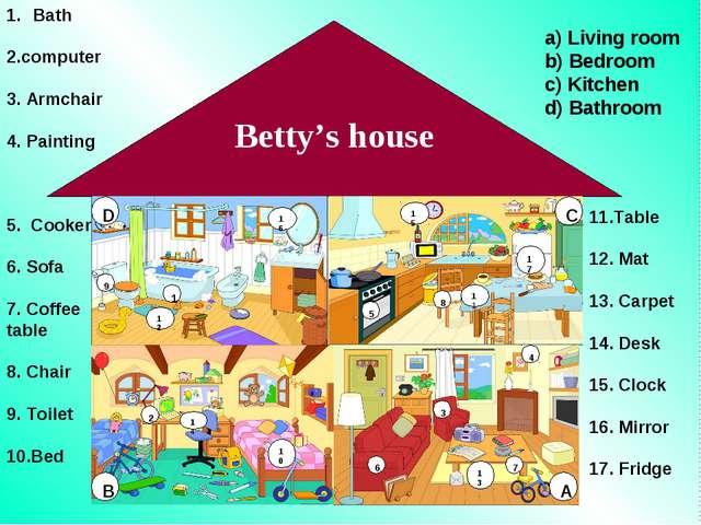 Betty's house 1 12 16 9 10 2 14 5 15 8 11 17 6 3 4 7 Bath 2.computer 3. Armch...