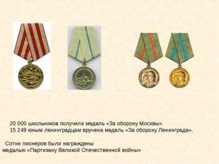 20000 школьников получили медаль «За оборону Москвы». 15249 юным ленинград
