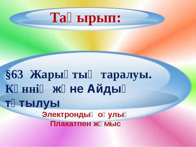 Тақырып: §63 Жарықтың таралуы. Күннің және Айдың тұтылуы Электрондық оқулық...